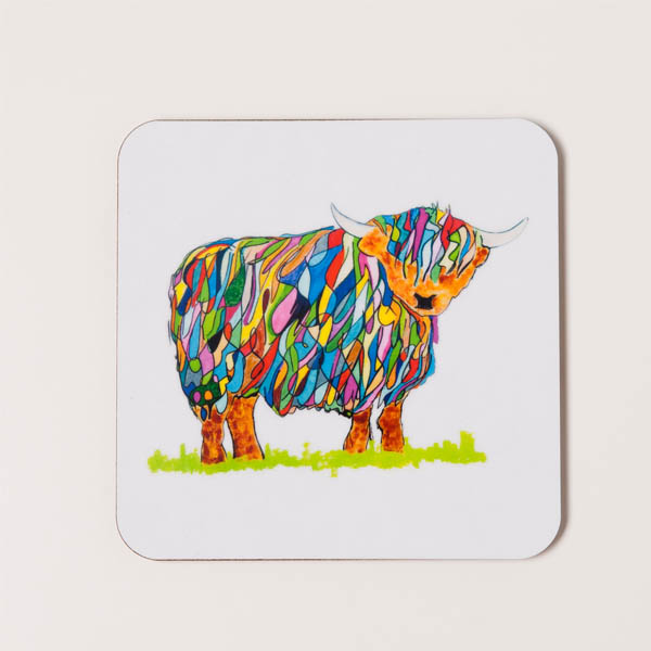 COASTER - Bright Highland Cow Design