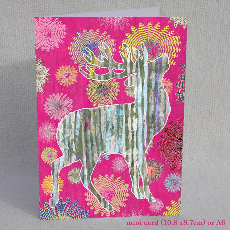 CARD MINI - Silver Stag on Pink