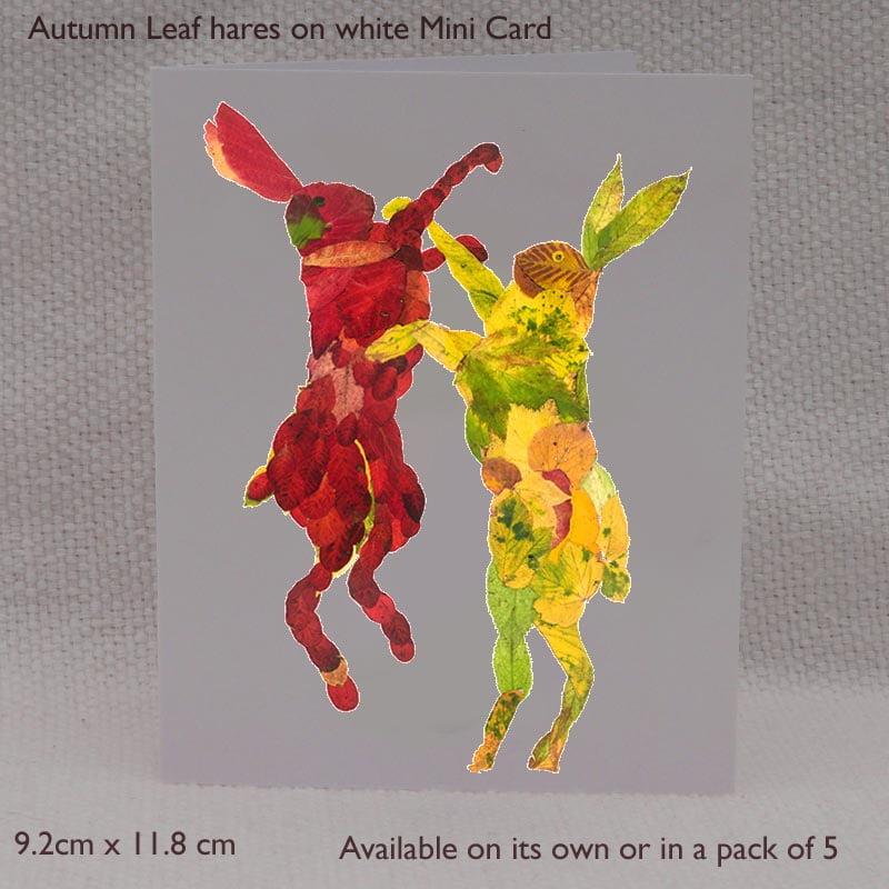 Mini Card - Autumn Leaf Hares