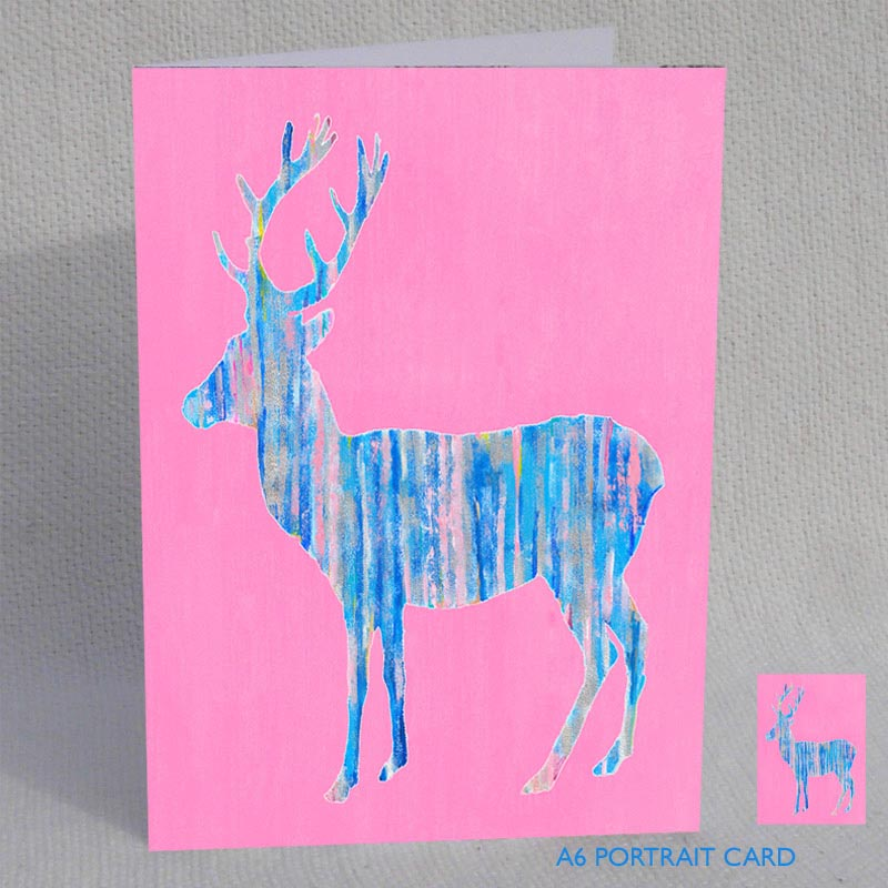 CARD A6 - Blue Deer on Pink