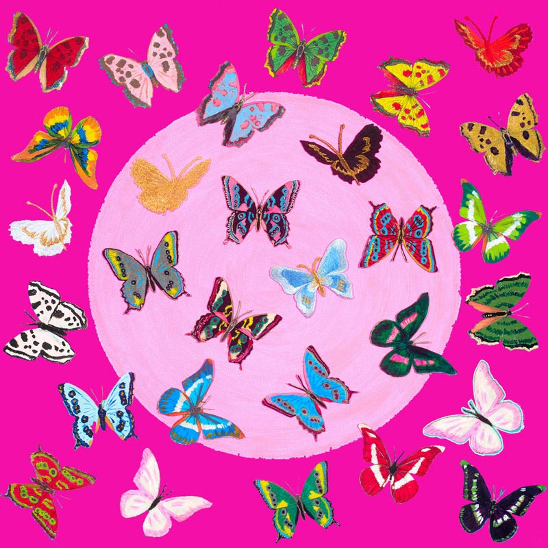 CARD SQUARE - Butterflies on dark pink