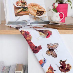 TEA TOWEL - Animal Medley Leaf/Feather Design Tea Towel