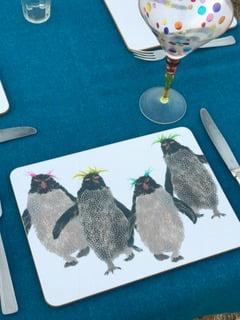 TABLEMAT - Rectangular Rockhopper Penguins with coloured tops Design