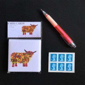 MINI SQUARE CARD PACK - Leaf Highland Cow