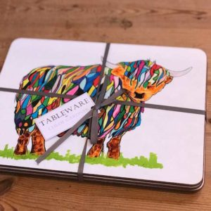TABLEMAT - Set of 4 - Bright Highland Cow Design