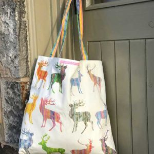 CANVAS BAG LARGE - Twelve stag New Design with Striped Handles