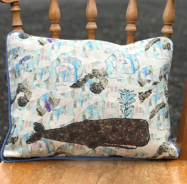 Luxury Nature Inspired Scottish Piped Linen Cushion Whale On Waves
