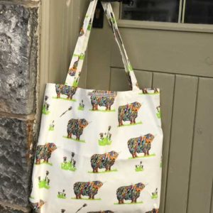 CANVAS BAG LARGE - Bright highland Cows and thistles design