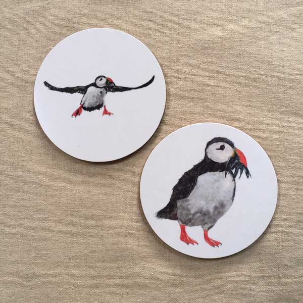 COASTER - Set of 2 - Puffin with Fish and Flying Puffin Design