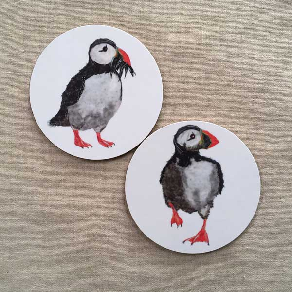 COASTER - Set of 2 - Running Puffin / Puffin with Fish Design