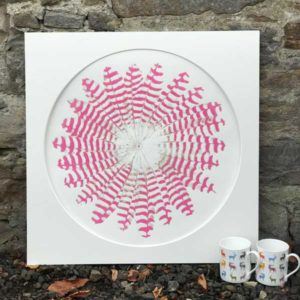 Deposit for 'Feather Circles Dark Pink and Silver' Print - please read description for total.