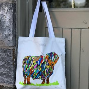 SHOPPER BAG - Bright Highland Cow and Baby design with Plain handles