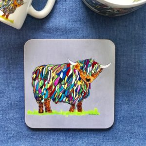 COASTER - Bright Highland Cow Design On Grey