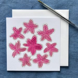 CARD SQUARE - PINK FEATHER STARS