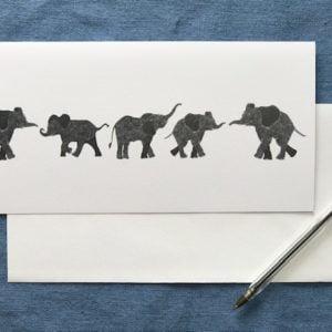 CARD LONG - ELEPHANTS IN A ROW