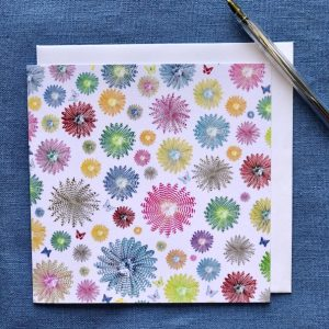 CARD SQUARE - Small Coloured Feather Rounds