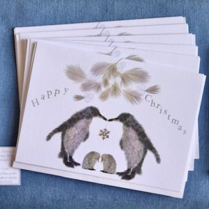 Christmas Cards - Pack of Six - Penguin Pair with babies