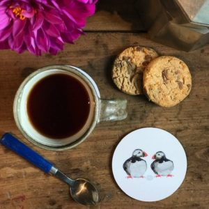 COASTER - Round Nesting Puffin with Egg Design