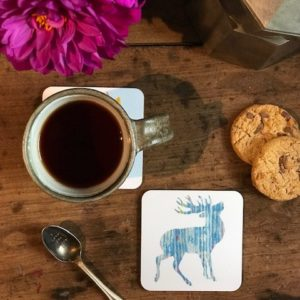 COASTER - Silvery Blue Stag Design