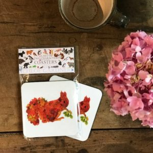 COASTER - Set of 2 - LEAF SQUIRREL