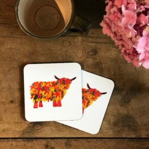 COASTER - Set of 2 - Leaf Highland Cow Design