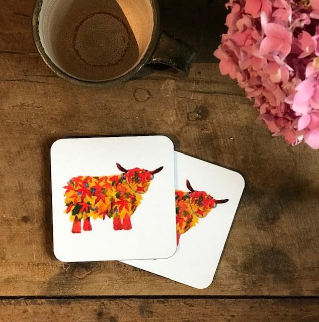 COASTER - Set of 2 - Leaf Highland Cow Design
