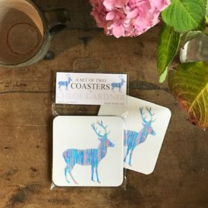 COASTER - Set of 2 - Blue Deer Design