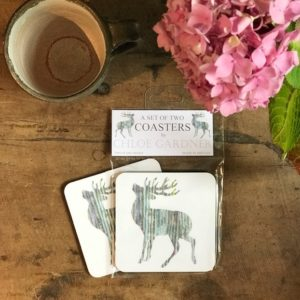 COASTER - Set of 2 - Silver Stag Design