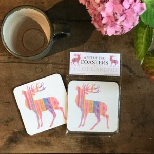 COASTER - Set of 2 - Pink Stag Design
