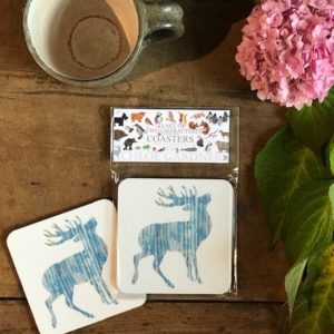 COASTER - Set of 2 - BLUE Stag Design