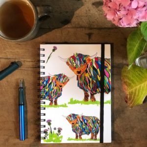 Notebook - Bright Highland Cow, with Elastic