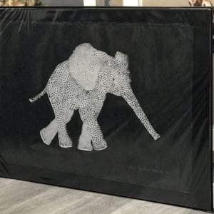 screen print - Silver stretched trunk Elephant
